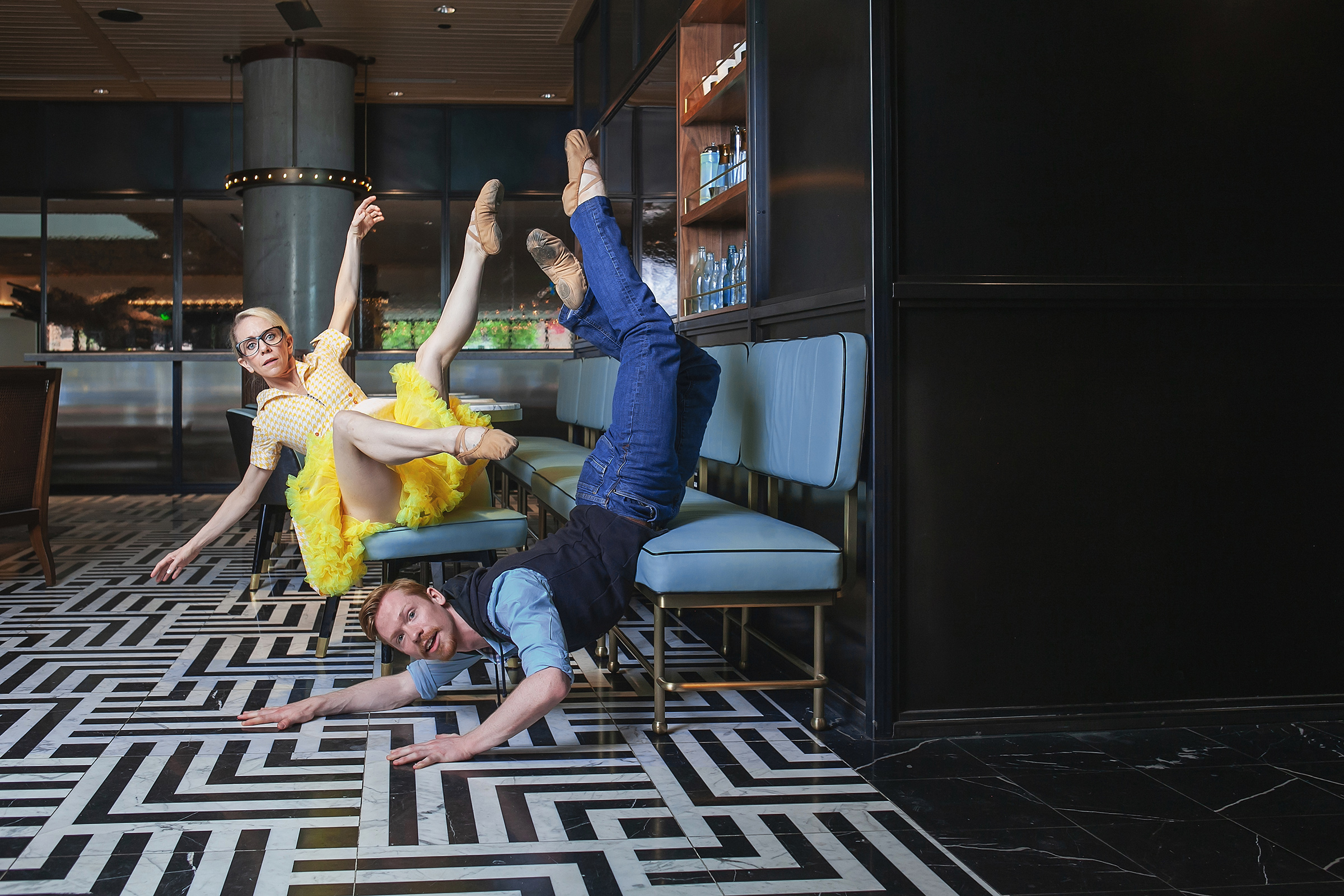 Wonderbound dancers Sarah Tallman and Ben Youngstone in Artistic Director Garrett Ammon's  Boomtown  with Chimney Choir. Photo by  Amanda Tipton , 2018.