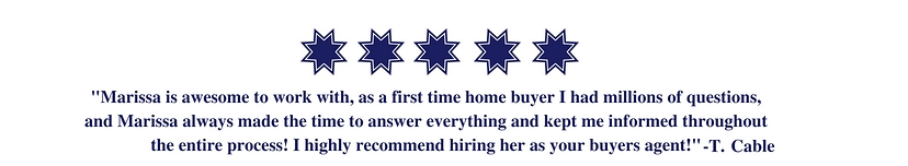 Testimonial Marissa Stauffer. Five star review Marissa Stauffer, NC/SC realtor in Fort Mill, SC.