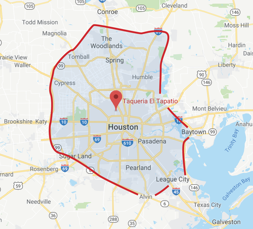 Catering Delivery Zone - Houston Area