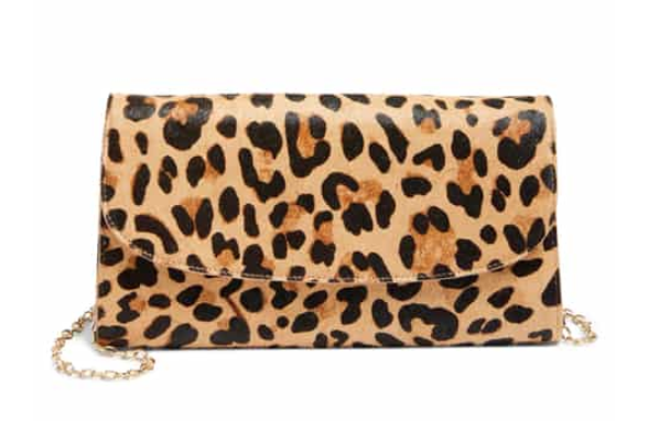 Genuine Calf Hair Leopard Print Clutch