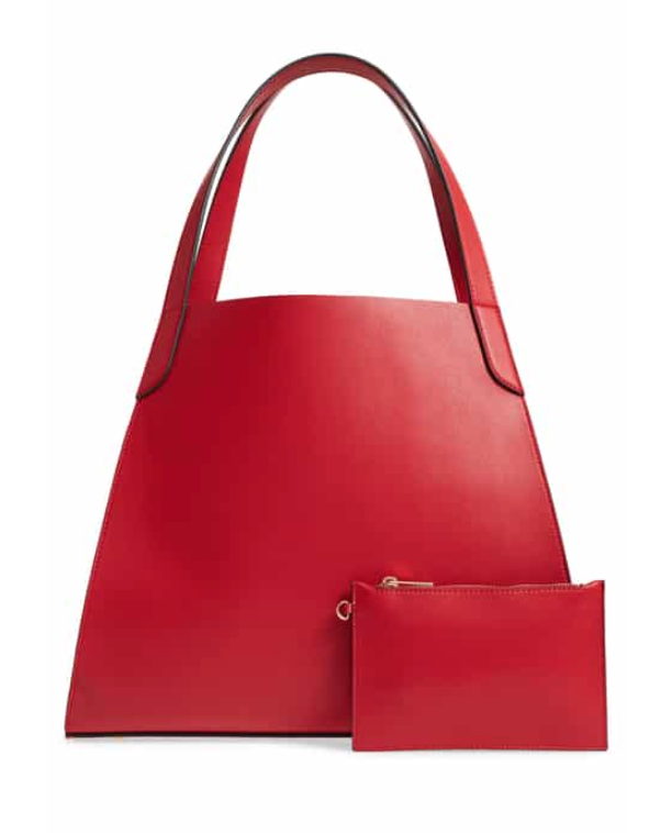 Trapezoid Faux Leather Tote