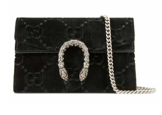 Supermini Dionysus Double G Velvet Shoulder Bag