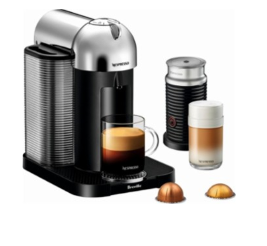 Nespresso - Vertuo Coffee Maker and Espresso Machine with Aeroccino Milk Frother by Breville - Chrome