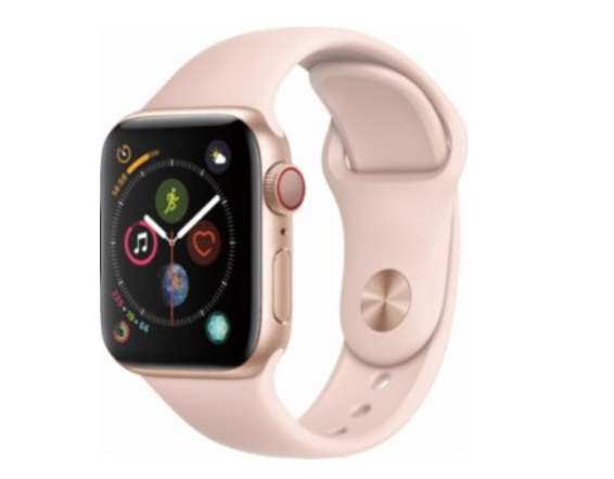 Apple - Apple Watch Series 4 (GPS + Cellular), 40mm Gold Aluminum Case with Pink Sand Sport Band - Gold Aluminum