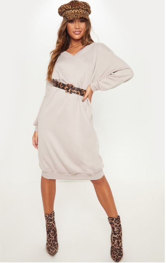 SAND V NECK OVERSIZED MIDI JUMPER DRESS