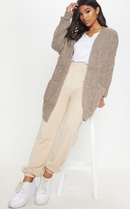 MOCHA OVERSIZED KNITTED CARDIGAN