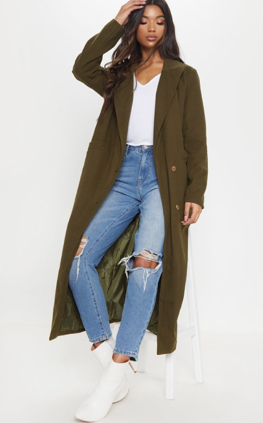 KHAKI LONGLINE DOUBLE BREASTED COAT