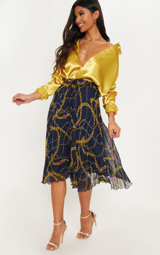 NAVY CHAIN PRINT DRAWSTRING WAIST PLEATED MIDI SKIRT