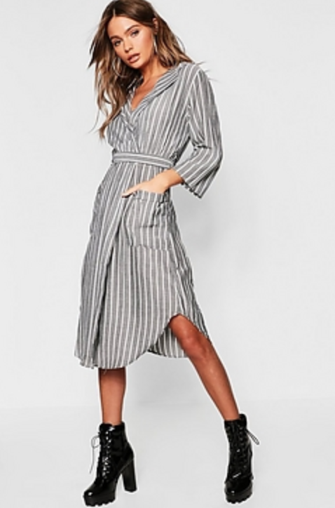 Woven Stripe Belted Midi Shirt Dress
