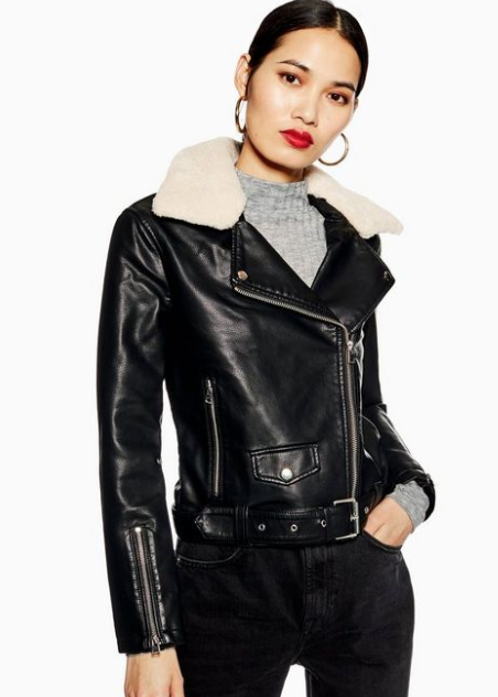 Borg Collar Faux Leather Biker Jacket