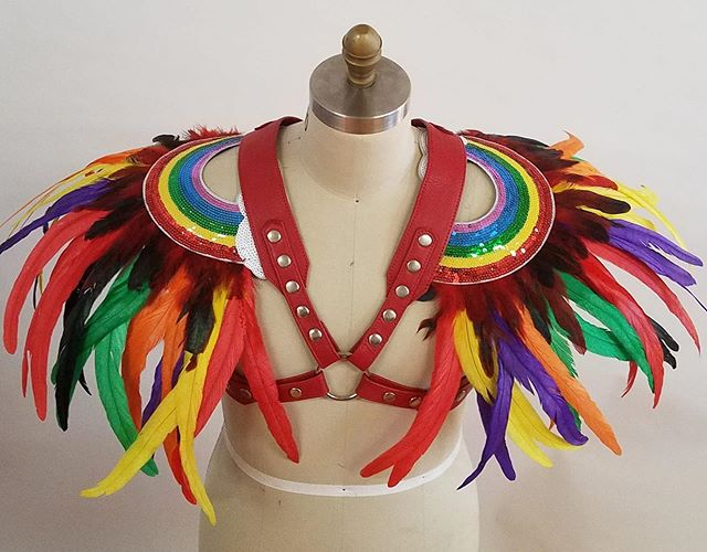 Party harness #deepartynyc #meat #leatherharness #leather #feather