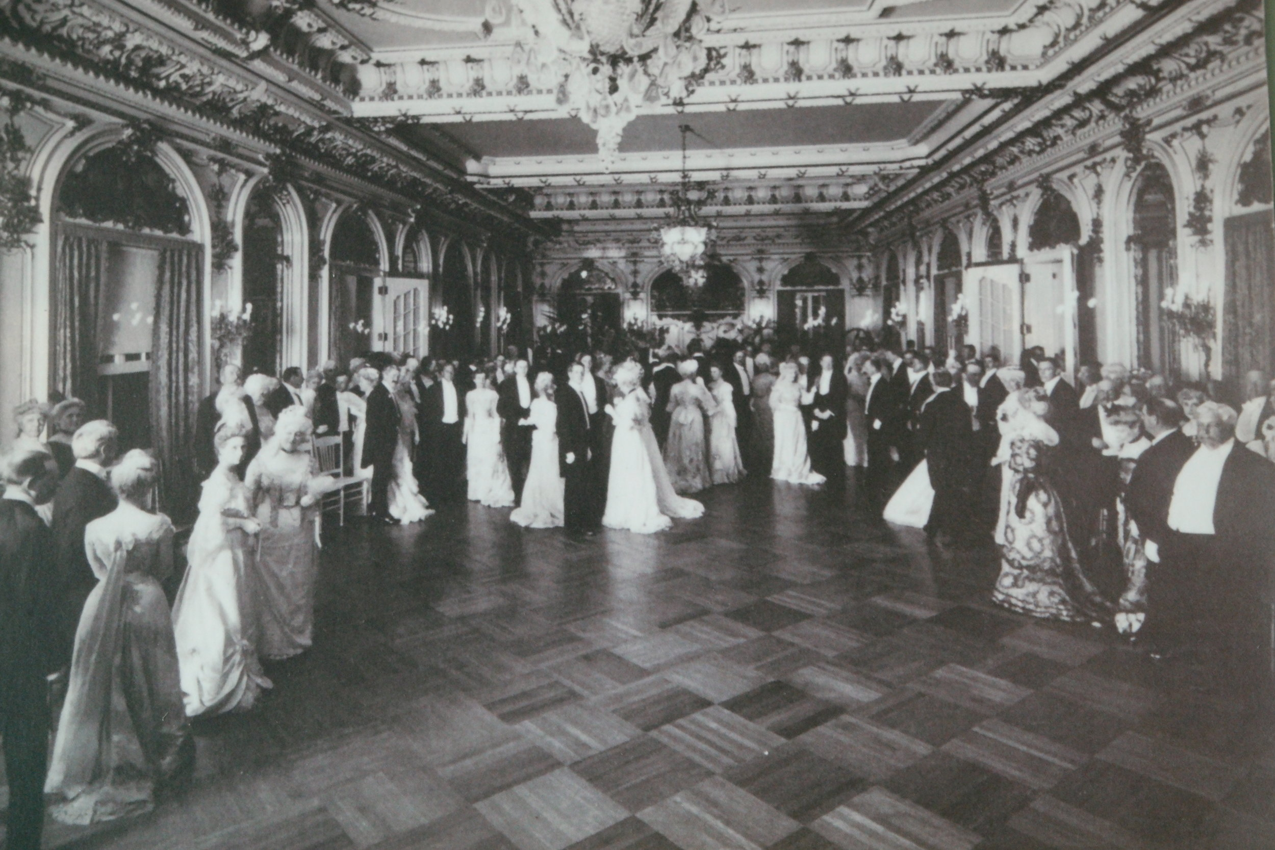 Photo of the Grand Ballroom in its heyday.  Photo credit: Flagler Museum, exhibited in the Grand Ballroom