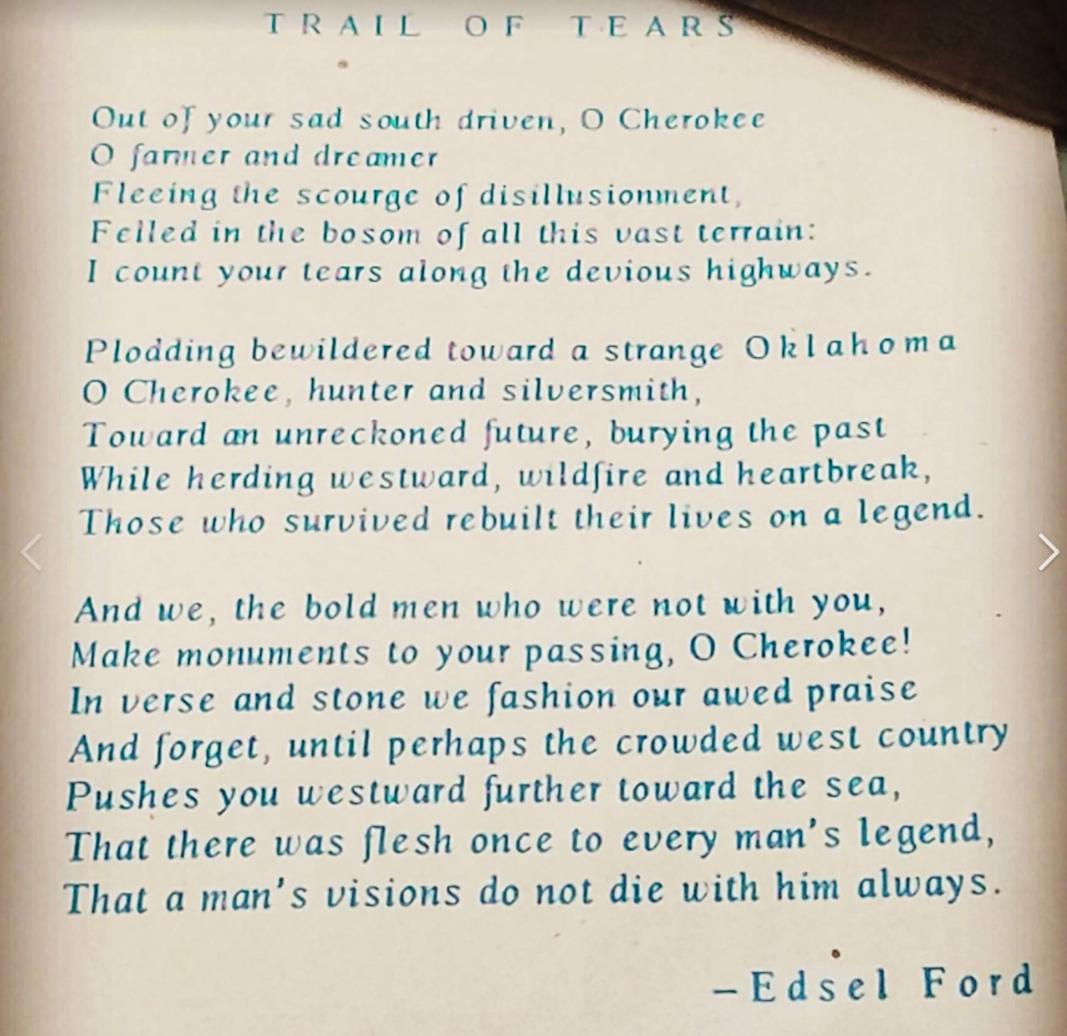 Poem on display at Blue Spring Heritage Center in Exhibit display cases.