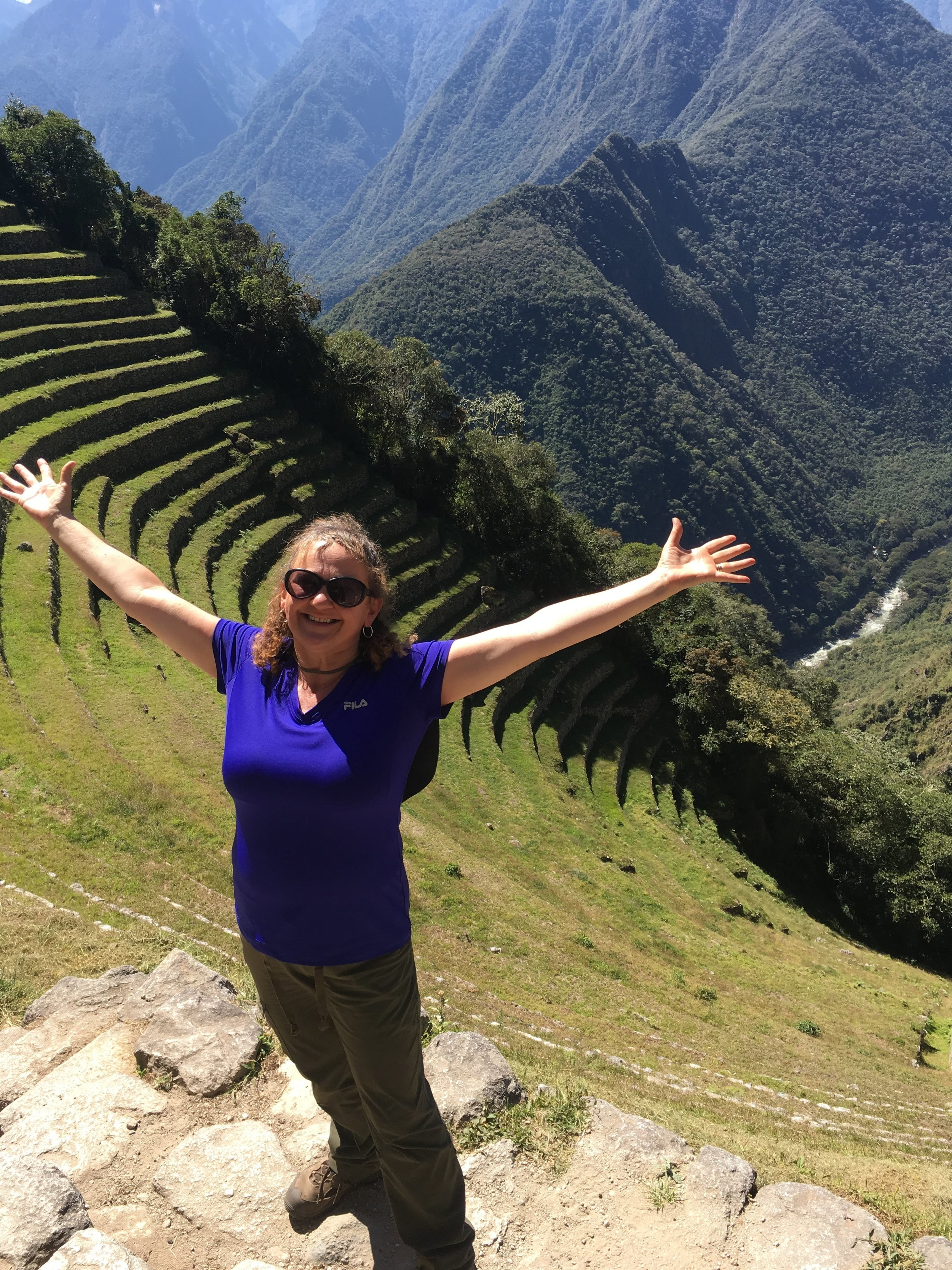 Deep breath of joy at Winay Wayna, Inca Trail, Peru.