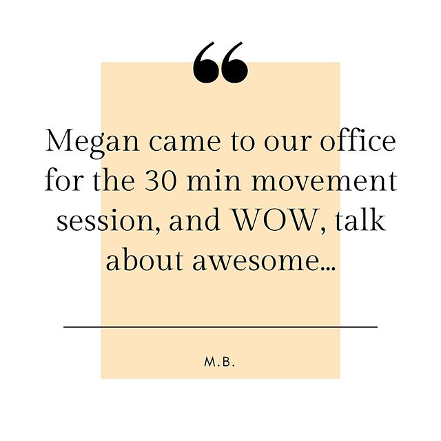 "Every element in our signature workplace movement session can stand alone as self care.  We will show you how. ""Megan came to our office for the 30 min movement session, and WOW, talk about awesome. The entire office lover her approach, kind spirit and instruction. Would highly recommend!"" - M. B  #inspiretec  #selfcare #workplacewellness #stressrelief"