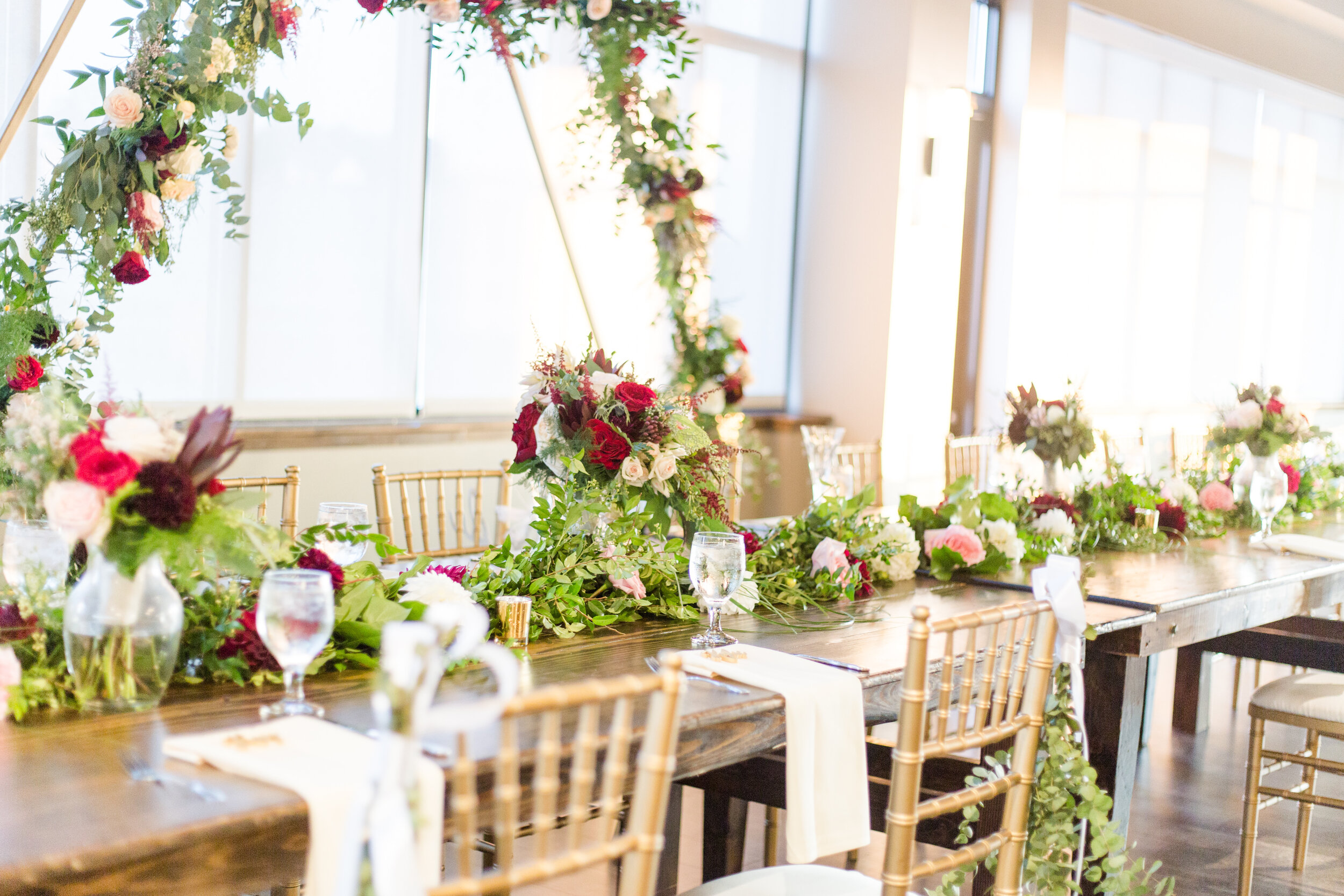 Stunning Greenery & Florals on Farm Tables