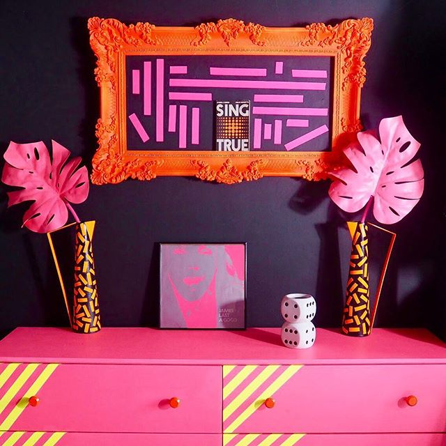 Ikea. Love it or loathe it some of their furniture just begs to be painted! Case in point, this Ikea chest of drawers, plain unvarnished pine, then Bang! Neon pink, neon yellow and some careful taping and you've got yourself a statement! What's your favourite Ikea hack?