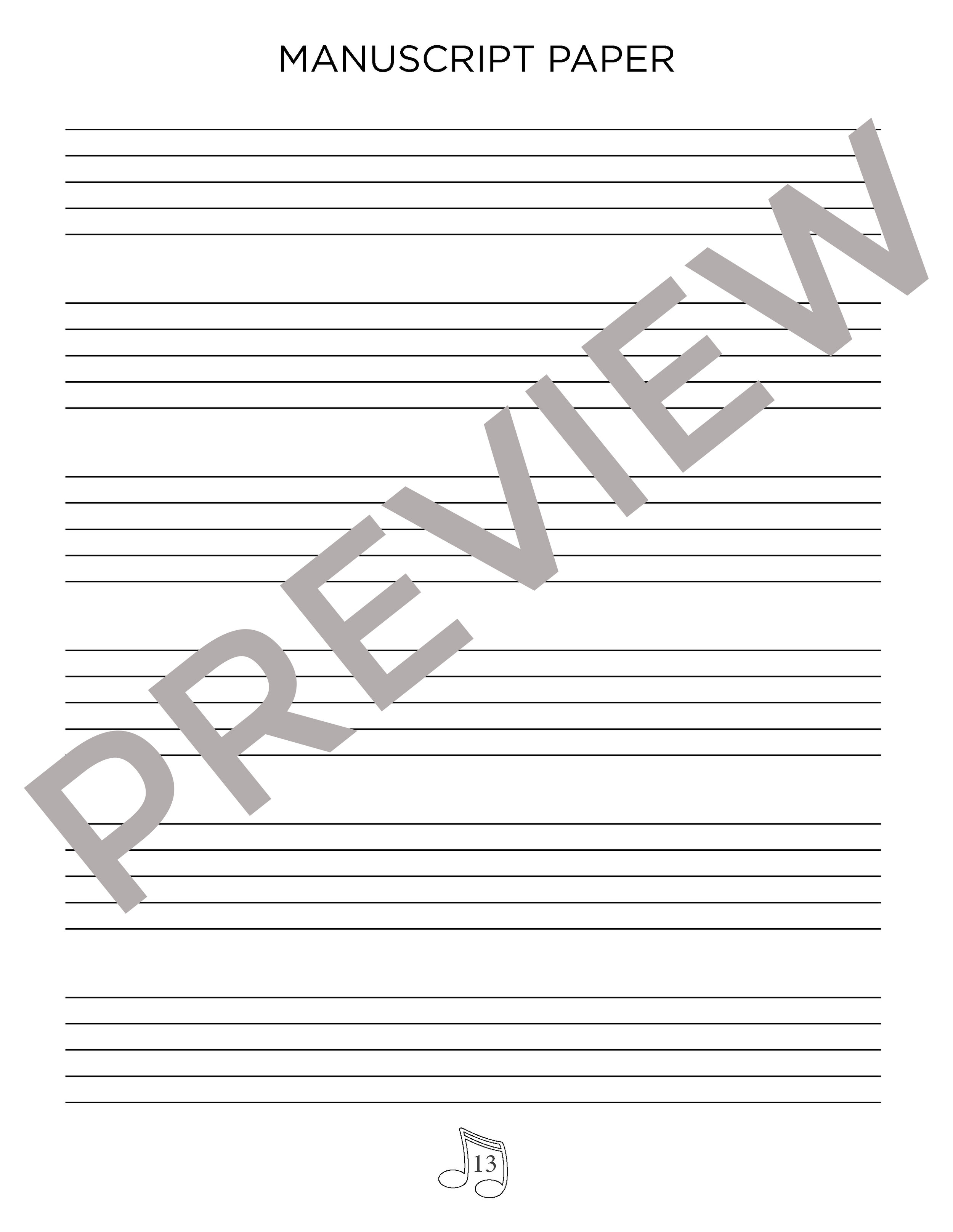 Manuscript Pages - There are exactly 8 pages of manuscript paper. Pages 13 - 17 give exactly enough staves to create 15 grand staves to correspond to 15 key signatures (including enharmonic keys). There are 4 additional pages of larger print manuscript paper for younger students who need practice with landmark notes or music symbols.