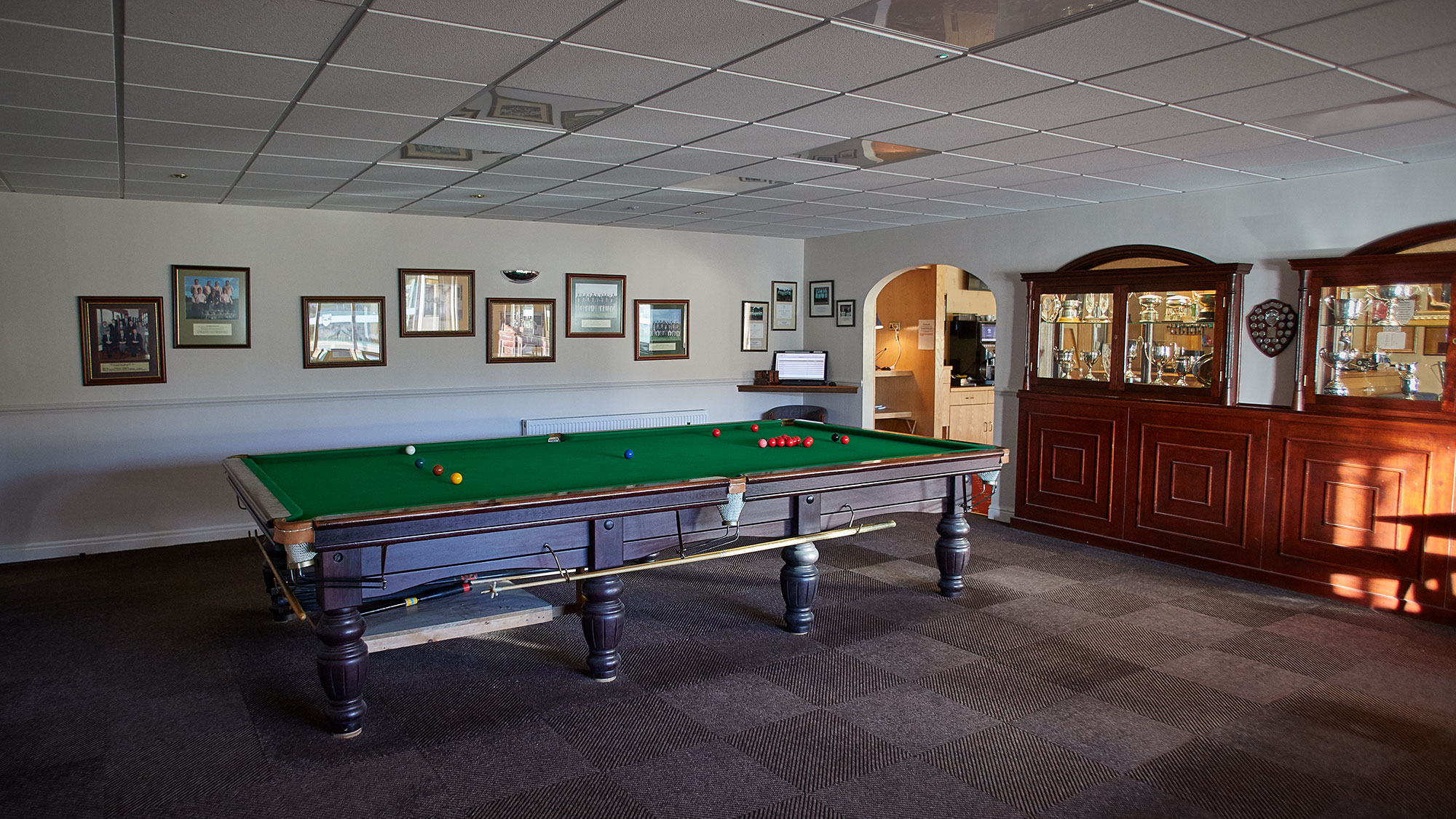 Snooker Room - Our snooker room has one snooker table along with a seating area for visiting parties and small groups to use when the function room is in use. The use of the snooker room is available to members and their guests.