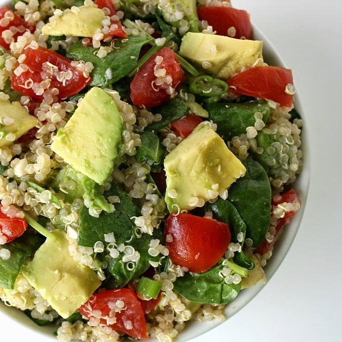 QUINOA AVOCADO SPINACH POWER SALAD - 1 cup dry quinoa2 medium avocados3 oz. baby spinach, more as desired8 oz. cherry tomatoes3 green onions (or finely diced red onion)1-2 cloves garlic (I use 2)2 Tbsp. red wine vinegar1/8 tsp. saltSee it here.