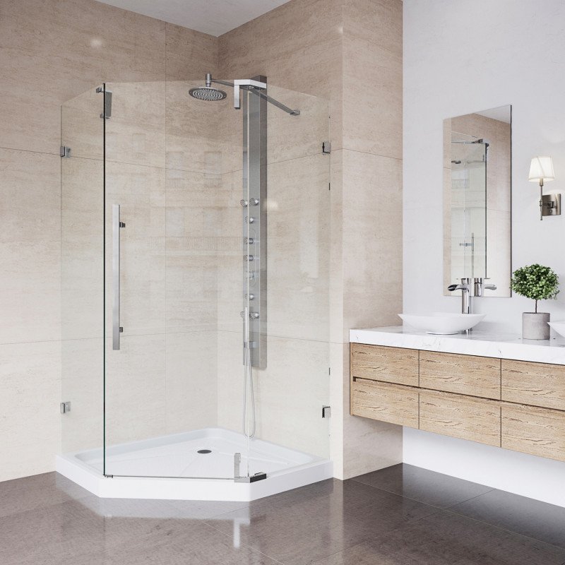The space-saving convenience of a neo-angle shower combines with beautiful design to create the sleek and modern VIGO Ontario Frameless Neo-Angle Shower Enclosure.