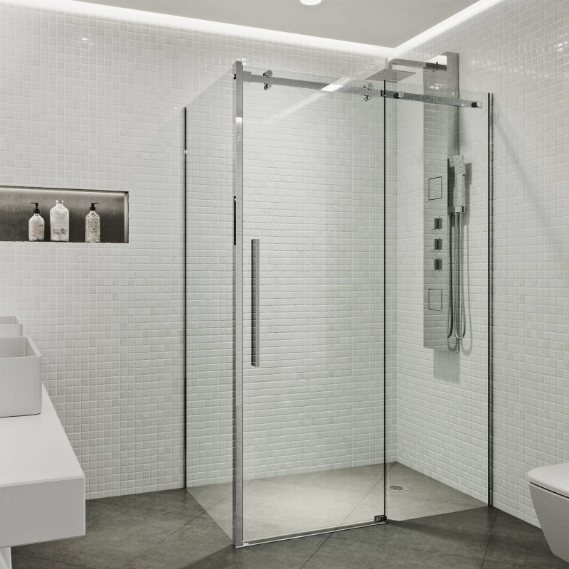 Create a sleek look in your bathroom with the VIGO Alameda Frameless Sliding Door Shower Enclosure.