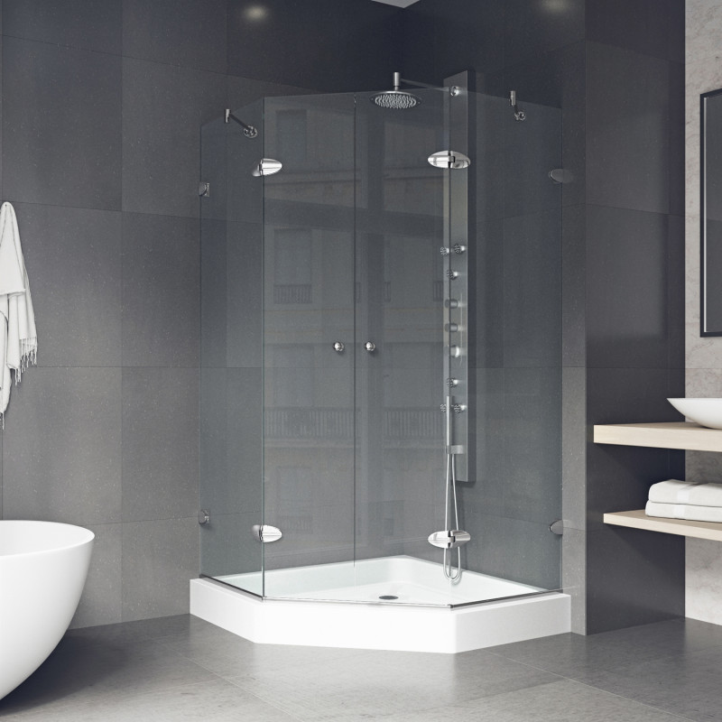 Easy access through central opening French doors makes the VIGO Gemini Frameless Neo-Angle Shower Enclosure a functional yet elegant statement piece in any modern bathroom.