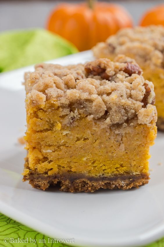 PUMPKIN CRUMBLE BARS - Ingredients15 oz Pumpkin puree, canned3 Eggs, large3/4 cup All-purpose flour1 cup Brown sugar, light packed2 1/2 tsp Cinnamon, ground1/4 tsp Cloves, ground1/4 cup Granulated sugar1/4 tsp Nutmeg, ground1 tsp Vanilla extract1/3 cup Pecans1 2/3 cups Gingersnap crumbs1/2 cup Butter, unsalted8 oz Cream cheese1/2 cup Greek yogurtSee it here!