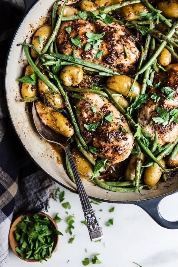 1. Honey Mustard Chicken and Vegetables - Ingredients1/2 cupdijon mustard1/2 cupraw honey11/2 tspsea salt divided1 tbspapple cider vinegar (optional)1 tsppaprika2large shallots, quartered2 lbsboneless skinless chicken breasts1/2 tspfreshly ground pepper2-3sprigs rosemary1 lbfingerling potatoes (or yukon golds, cut into 1