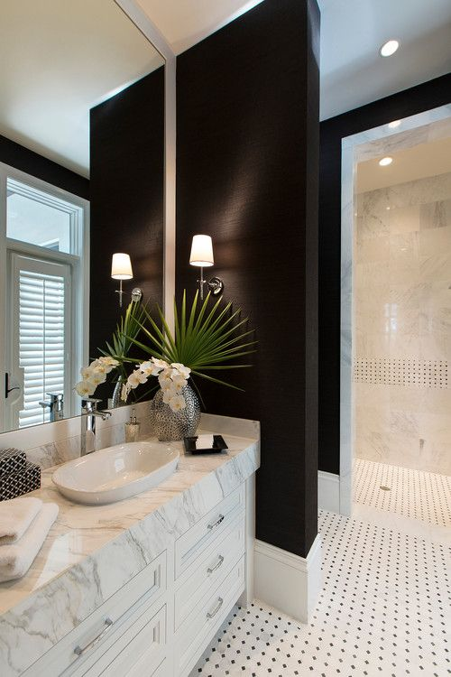 5 ways to use black in the bathroom! We've got a few techniques for you to incorporate black into your bathroom without it feeling too gothic. Click to see more!   VIGO Industries - Bathroom Design Ideas - Bathroom Remodel