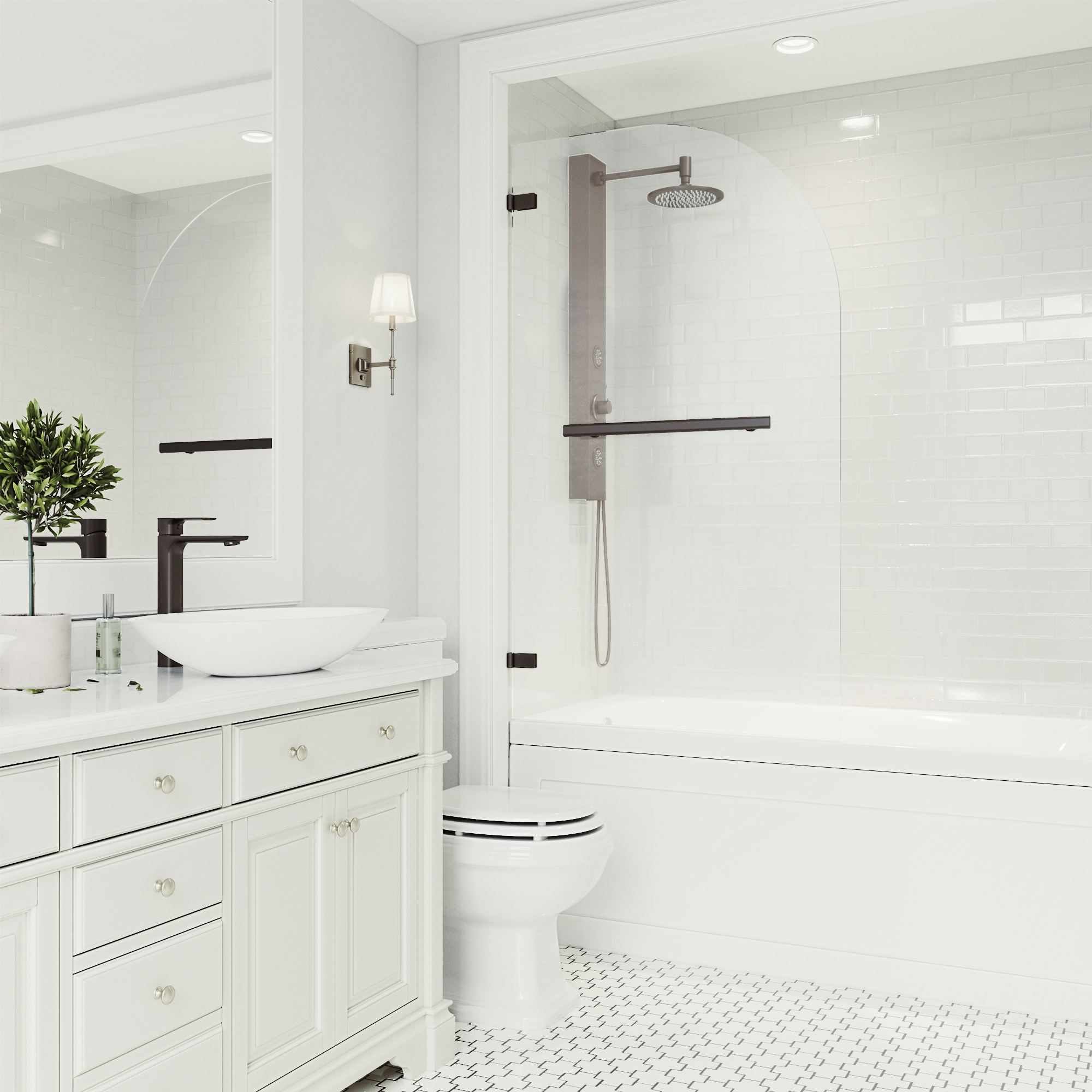 5 ways to use black in the bathroom! We've got a few techniques for you to incorporate black into your bathroom without it feeling too gothic. Click to see more!   VIGO Industries - Bathroom Design Ideas - Bathroom Remodel.
