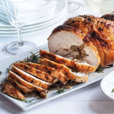 ROASTED TURKEY ROULADE - Ingredients3/4 cup large diced dried figs, stems removed3/4 cup dried cranberries1/2 cup Calvados, a French apple brandy, or regular brandy4 tbsp (1/2 stick) unsalted butter1 1/2 cups diced onions1 cup 1/2-inch-diced celery3/4 lb. pork sausage, casings removed (sweet and hot mixed)1 1/2 tbsp chopped fresh rosemarySee it here!