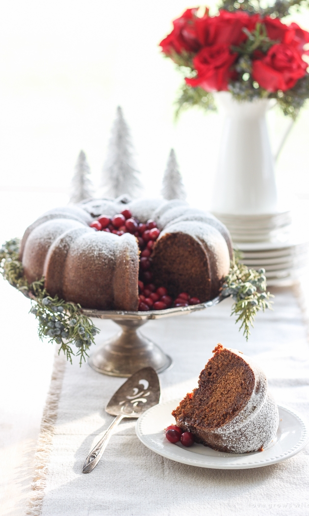GINGERBREAD BUNDT CAKE - Ingredients3 cups all-purpose flour2 tablespoons ground ginger2 teaspoons ground cinnamon½ teaspoon ground allspice½ teaspoon ground cloves1 teaspoon baking soda½ teaspoon salt1 cup buttermilk1 tablespoon vanilla extract16 tablespoons unsalted butter, at room temperature1 cup packed brown sugar1 cup granulated sugar1 cup molasses3 eggsconfectioners sugar, for garnishSee it here!