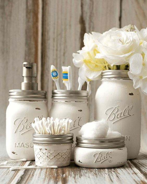 6. DO IT YOURSELF - Don't be afraid to get creative and work with items you already have. Mason jars can be great for storing flowers or toothbrushes. Smaller boxes or bins are ideal places for cosmetics, sponges, and additional applicators.