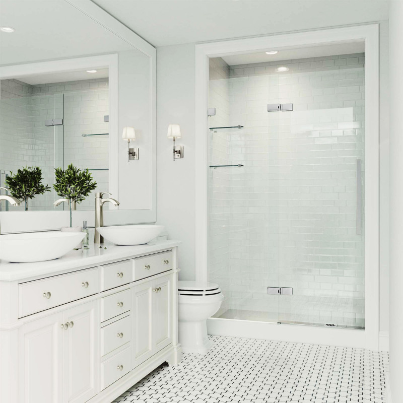 Myth #3: Remodeling a Bathroom Requires Making it Larger - It is a longstanding misconception that remodeling a bathroom requires blowing out structural walls and making fundamental changes to your entire home. While this is a fine change if it's within your plan, bathroom remodels do not have to result in actual spatial changes. There are many ways to reconfigure your bathroom in order to not only make it appear larger, but also to make it lighter and brighter. Strategically organizing counterspace and sinks can be a simple way to open up any vanity. Considering vessel bowl sinks instead of undermount sinks allows for additional storage space with cabinetry. In addition, clear glass sliding shower doors can optimize the space you have and open up the entire room from a visual and logistical standpoint.