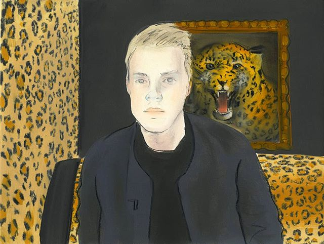 """Leopard Room"" oil and charcoal on Arches paper 11x17"" _____________________________ #leopardprint #contemporarypainting #figurativepainting #oilpainting #fineart #mfastudent #mfastudio #uiucartdesign #uiucmfa #interiordesign #camboy"