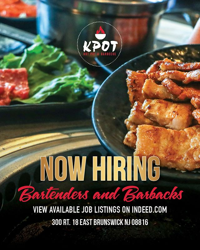 Attention #EastBrunswick! We are #NOWHIRING energetic individuals who are looking to be a part of our unique dining experience! Interested in joining the K Pot team? Visit our Facebook page for our job post!!#NowHiring #NJJobs #WorkinNJ #EastBrunswick
