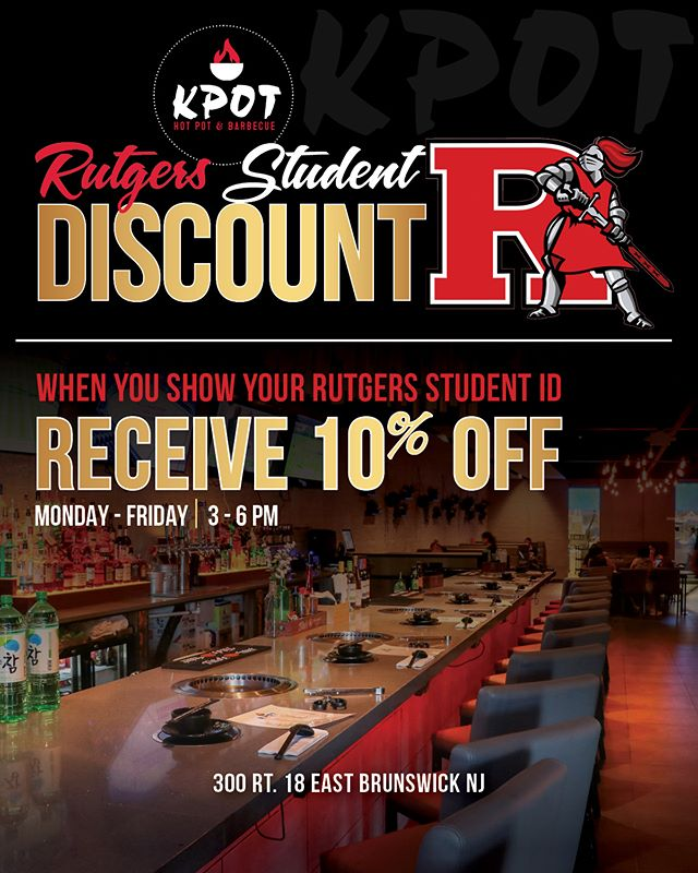 ***Hey @rutgersu Students*** School is back in session and were starting the semester off with this SPECIAL DEAL just for you!  Show your server your Student ID and receive 10% OFF Monday-Friday 3-6pm. (*cannot be combined with any other offer*) Take a sneak peek of our menu on our website. link can be found in bio