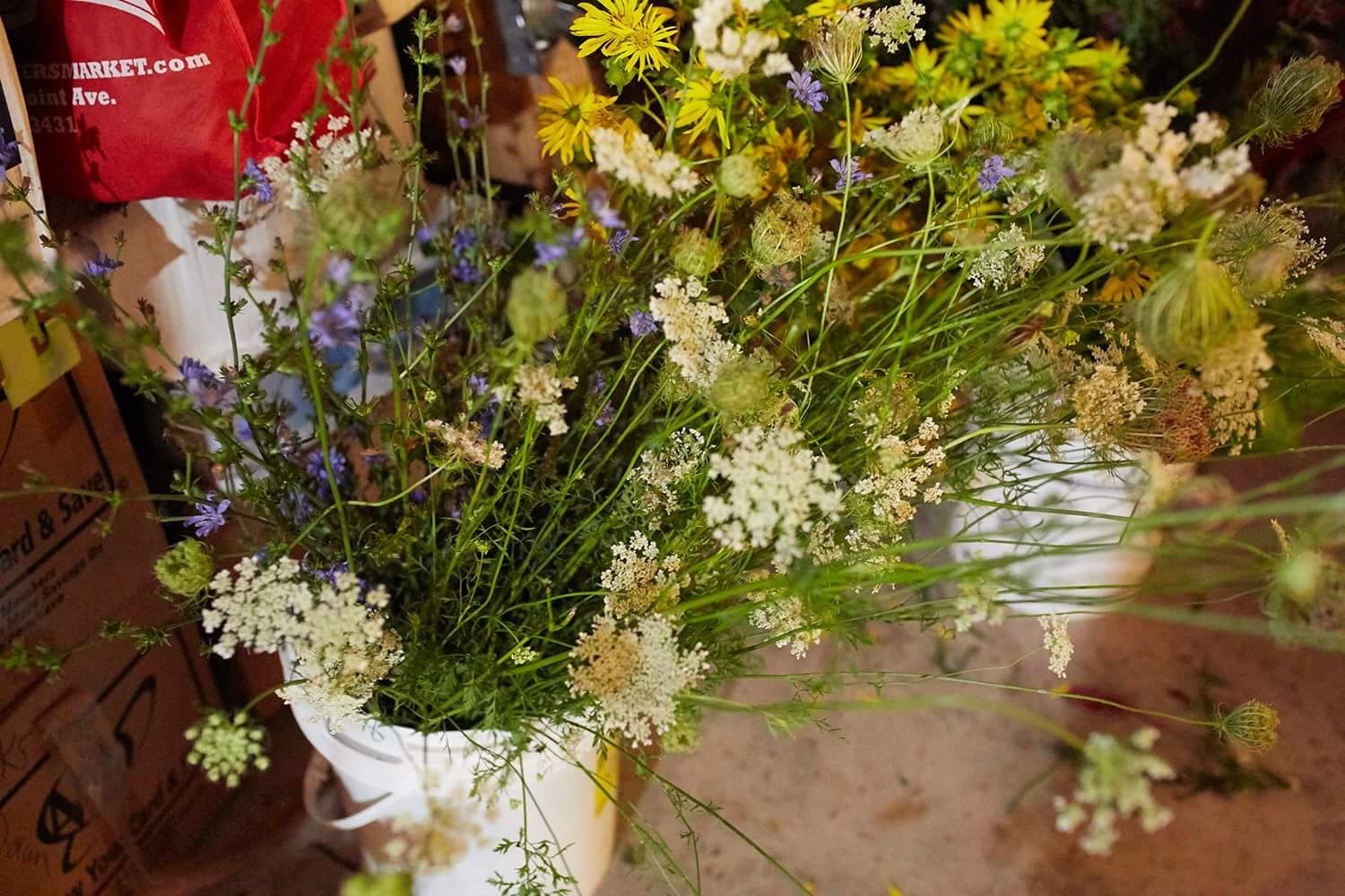 Locally Foraged Wildflowers in preparation for an end of summer wedding.