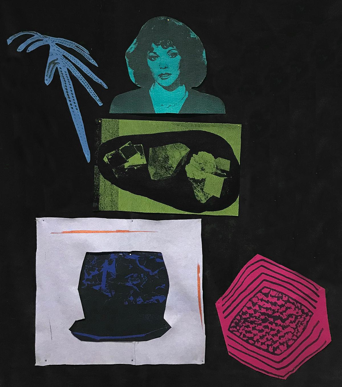 "Paulina Berczynski Joan Collins 2018 Black Velvet and screen-printed acrylic felt. Approx 50 x 58"""