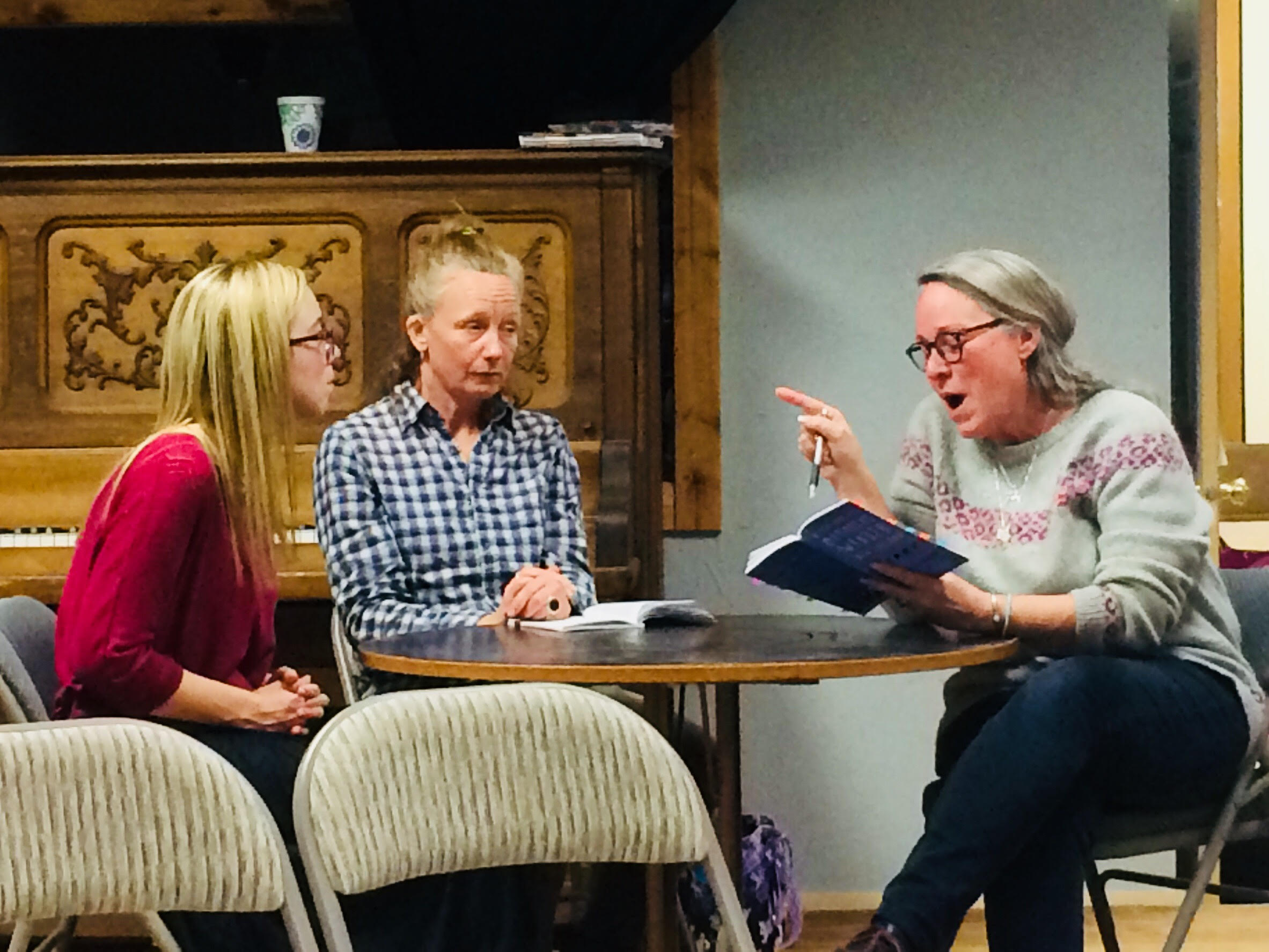Mammoths cast starts work at the end of March! Left to right are Shawna Durney (Andromeda), Margot Darling (Greer) and Michelle Knickerbocker (Dean Wreen). Can't wait to see what these three come up with!