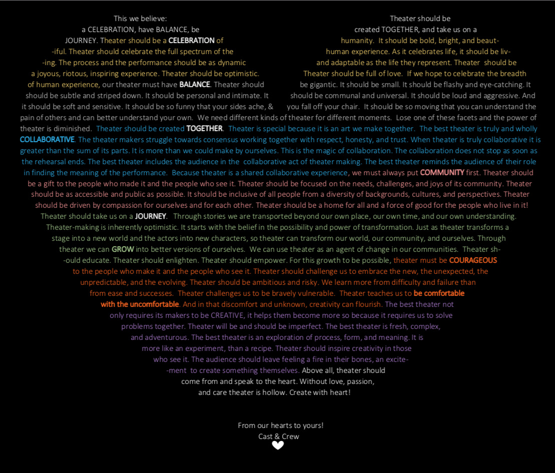 This manifesto was written by the Teen Theater cast and crew of This We Believe: A Performance Manifesto.