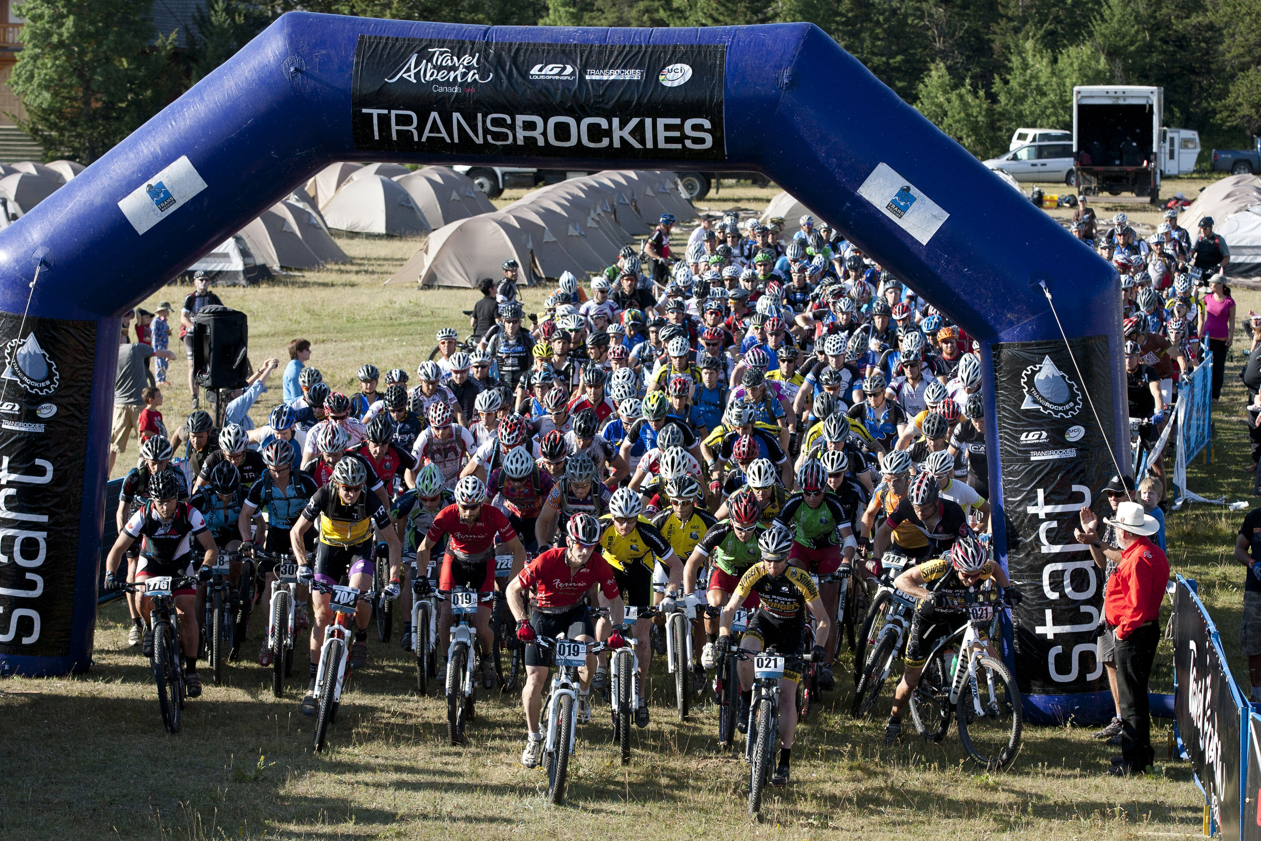 The TransRockies mountain bike stage race start line.