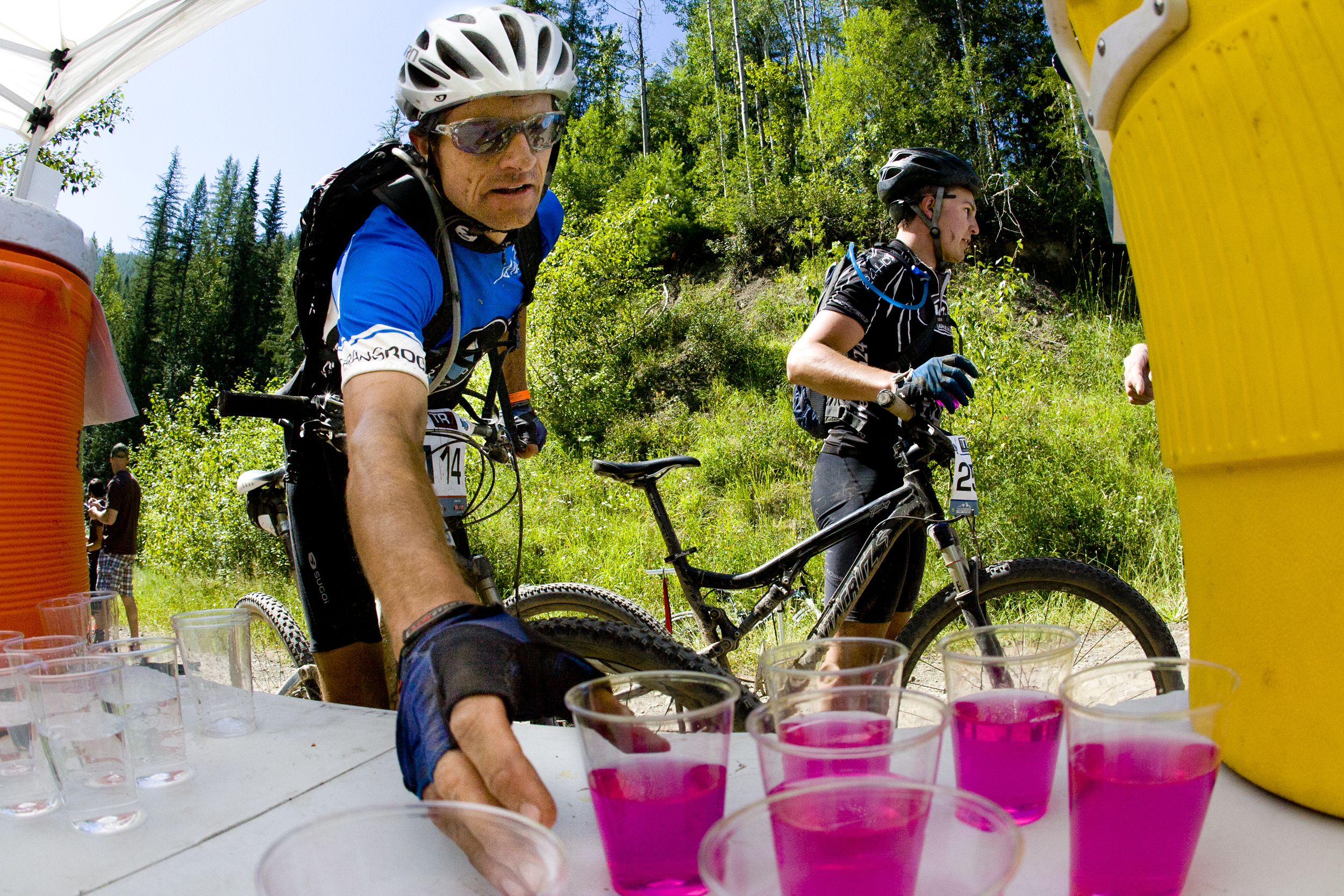 TransRockies mountain bike stage race - drinks at the checkpoint