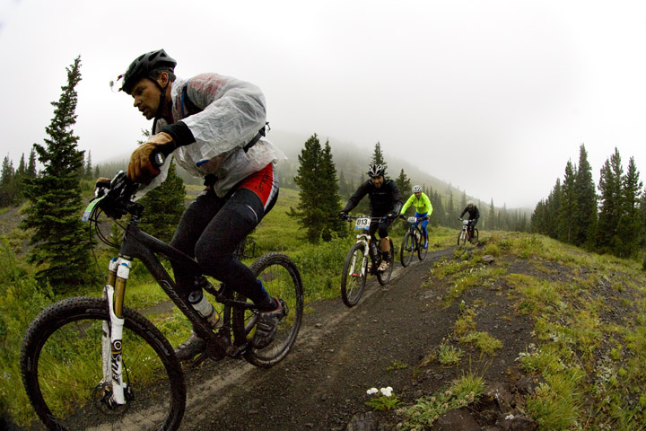 Cory Wallace leads the TransRockies Classic mountain bike stage race.