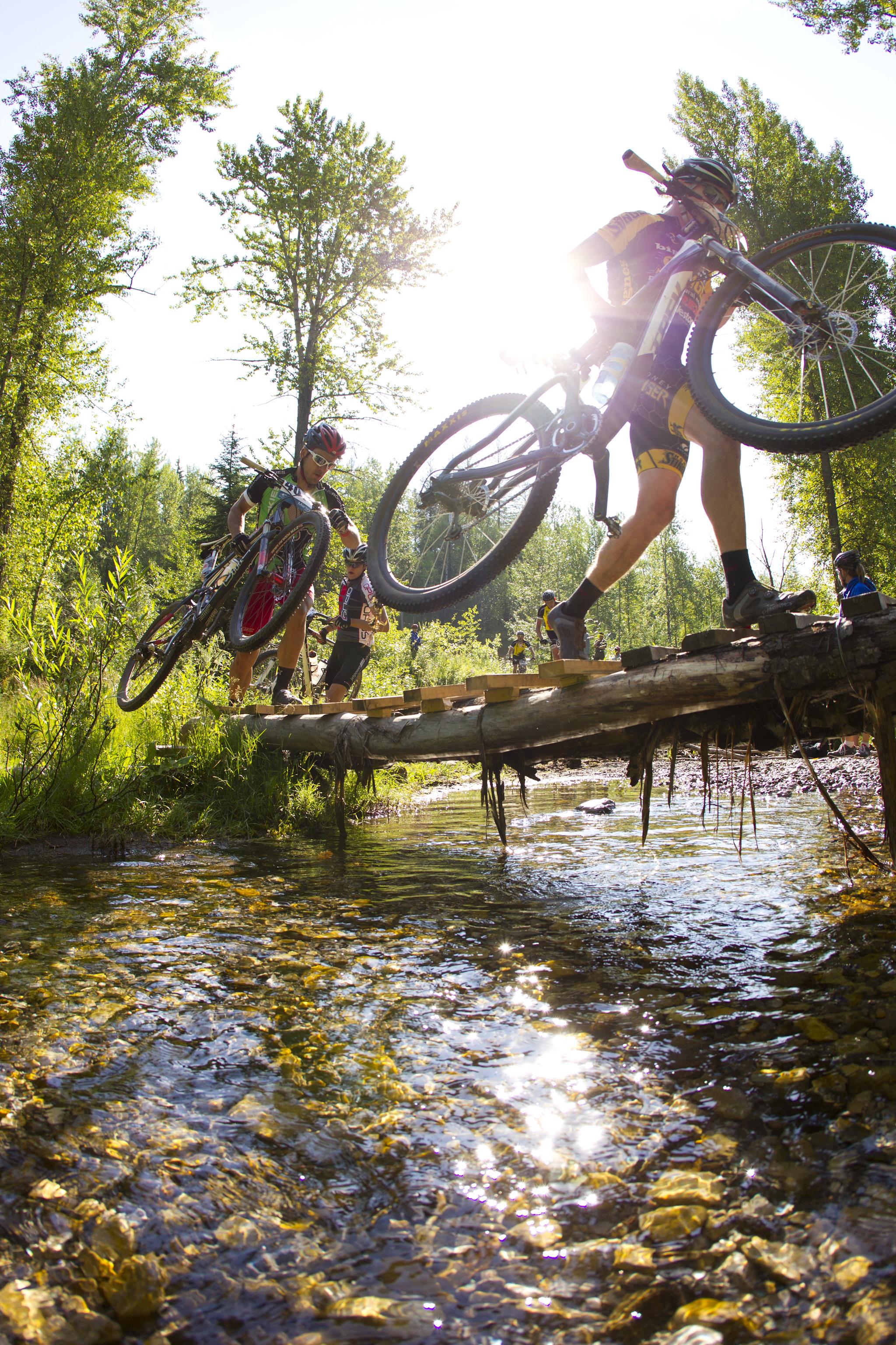 TransRockies Classic mountain bike stage race – stream crossing