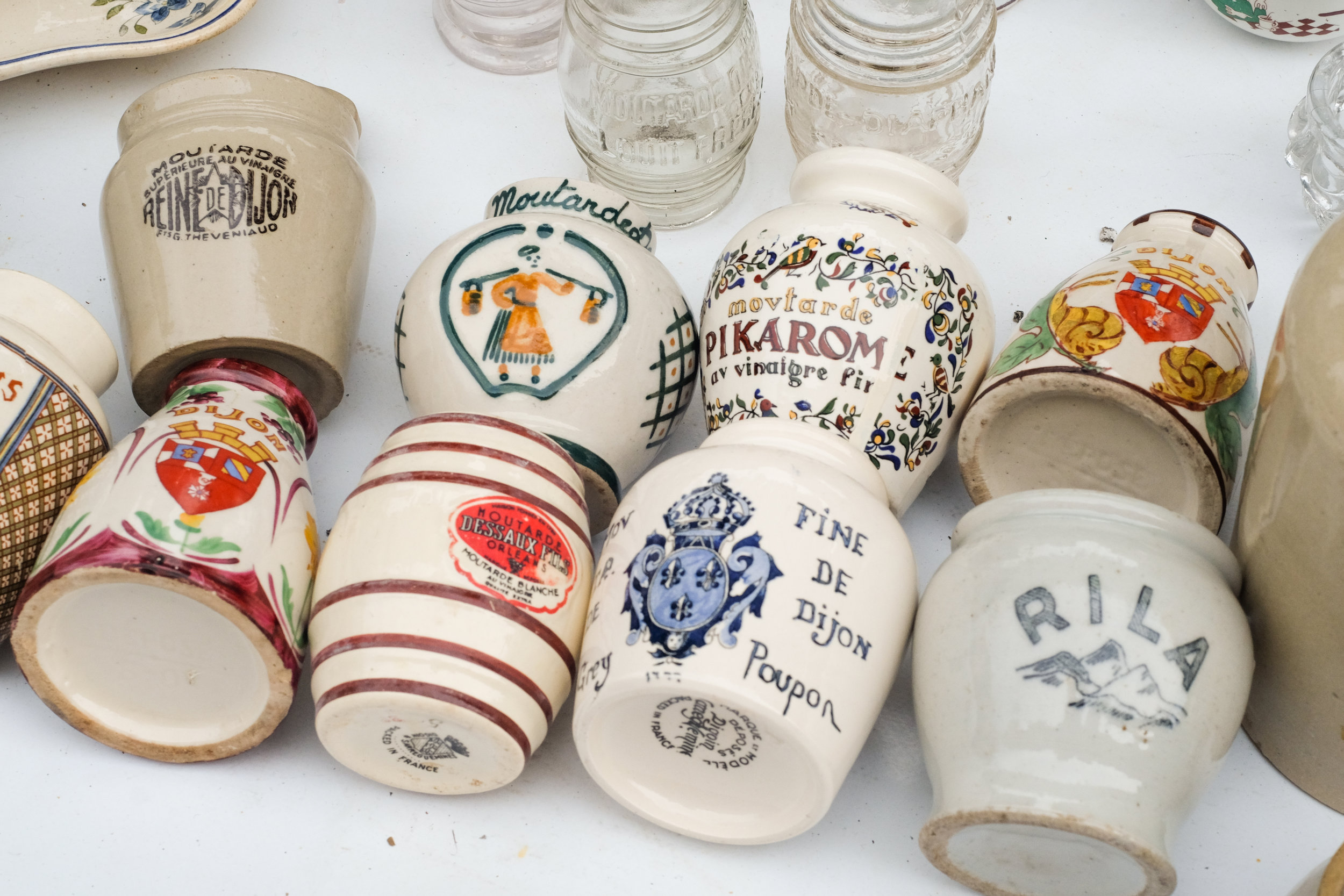 Mustard jars with pretty patterns