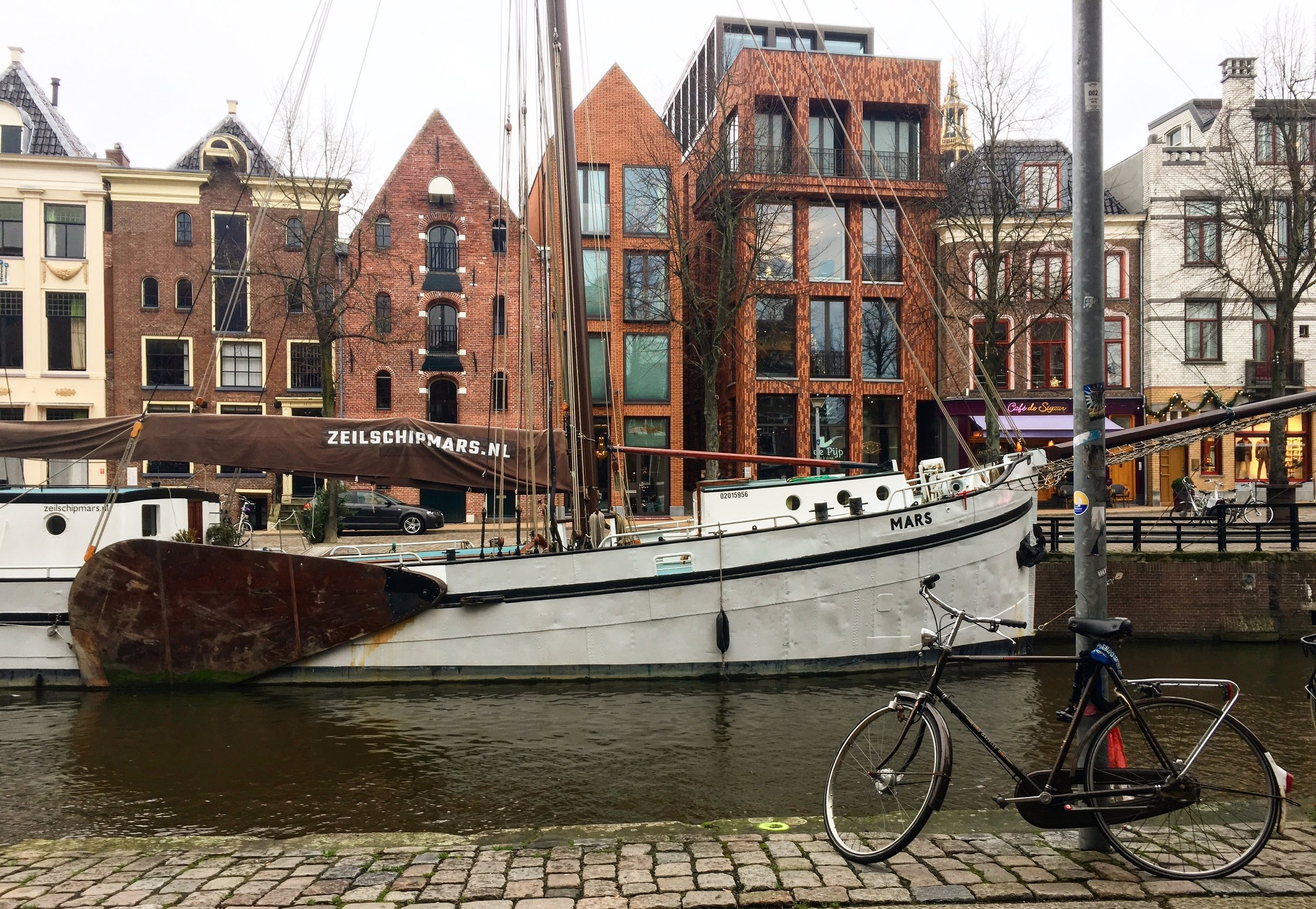 Along the canals in Groningen, Netherlands - the tallest pointed roof building is reception for Hotel Miss Blanche - it is an inviting place that instantly makes you feel welcome.