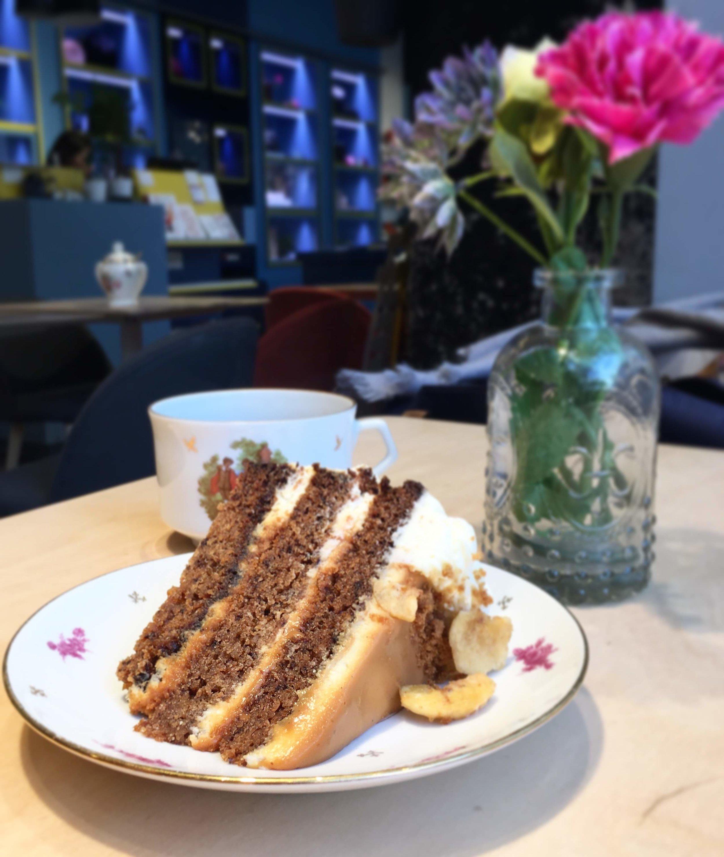 "Enjoying some ""birthday"" cake at Sept-Cinq"