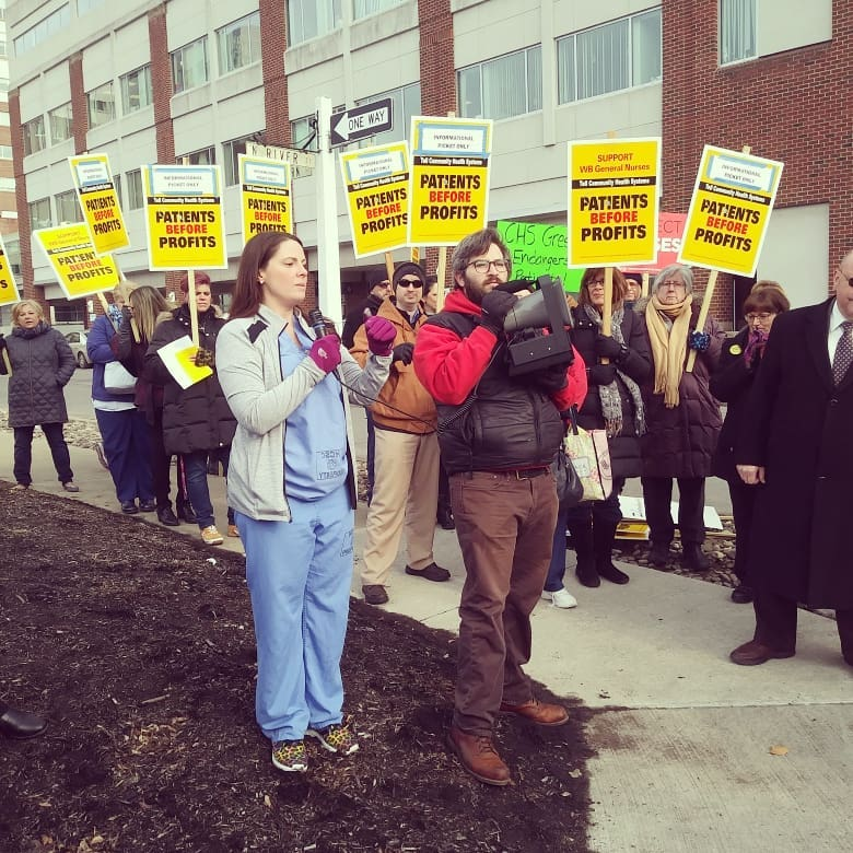 Registered nurses at Wilkes-Barre General Hospital have identified staffing as an issue throughout the facility and are currently in union contract bargaining. They are represented by the Wyoming Valley Nurses Association, an affiliate of the Pennsylvania Association of Staff Nurses and Allied Professionals. (Pictured speaker: Ashley Weale, RN)